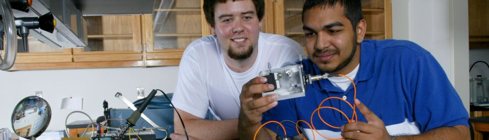Students with lab equipment.